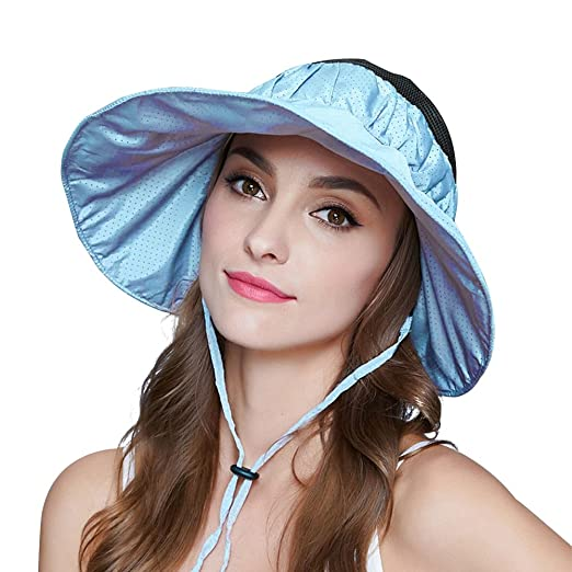 Mysoulfor Womens UV Protection Wide Brim Adjustable Beach Sun Visor Hats  caps at Amazon Women s Clothing store  60128f2d5285