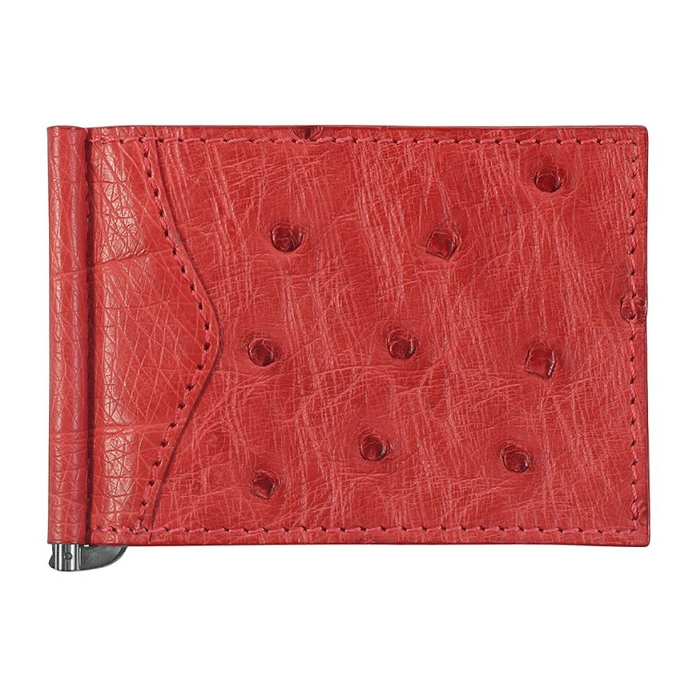 Money Clip Wallet Ostrich Leather 3 CC Slots Red//Creme ID Holder