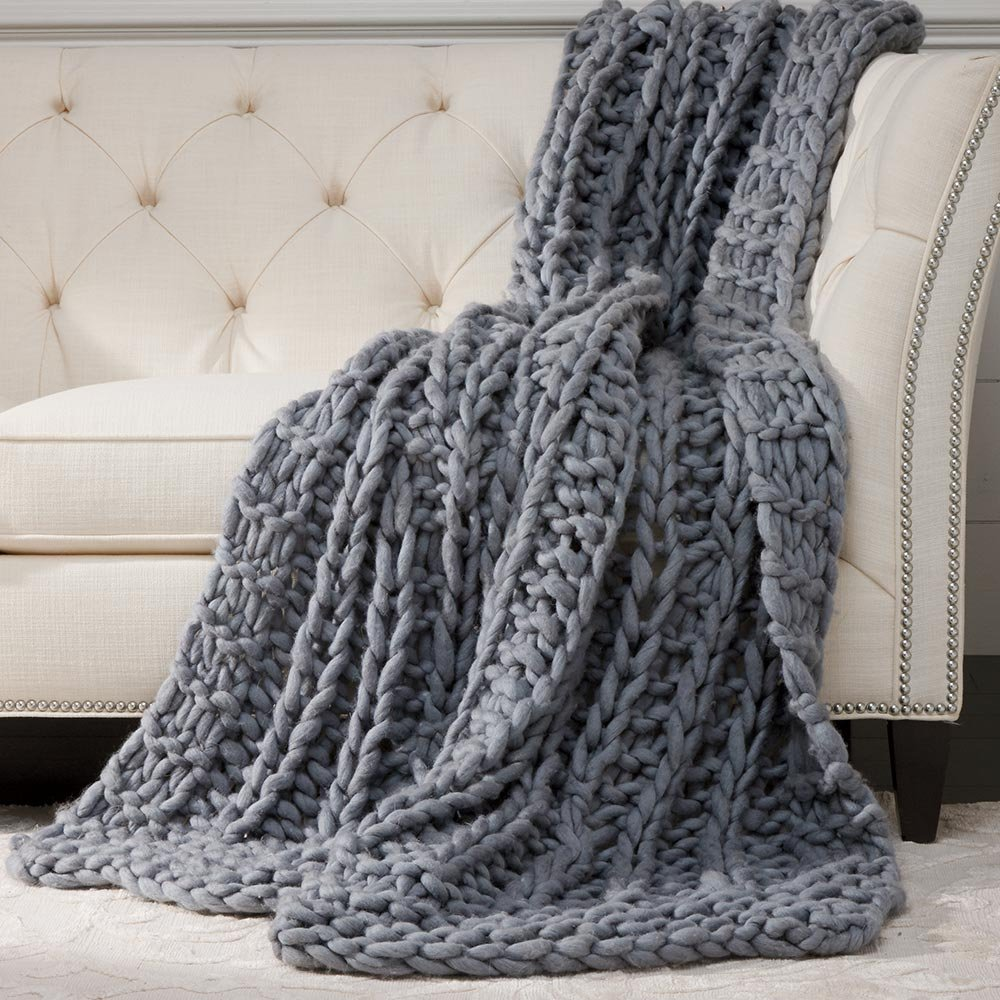 Ethan Allen Cross Cable Knit Throw, Mid Blue