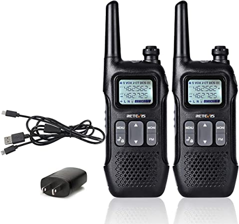Retevis RT16 Walkie Talkie FRS Small 22 CH FM Lock 10 Call Tone NOAA Weather Alert 121 Privacy Codes VOX USB Charger Two Way Radio Outdoor 2 Pack