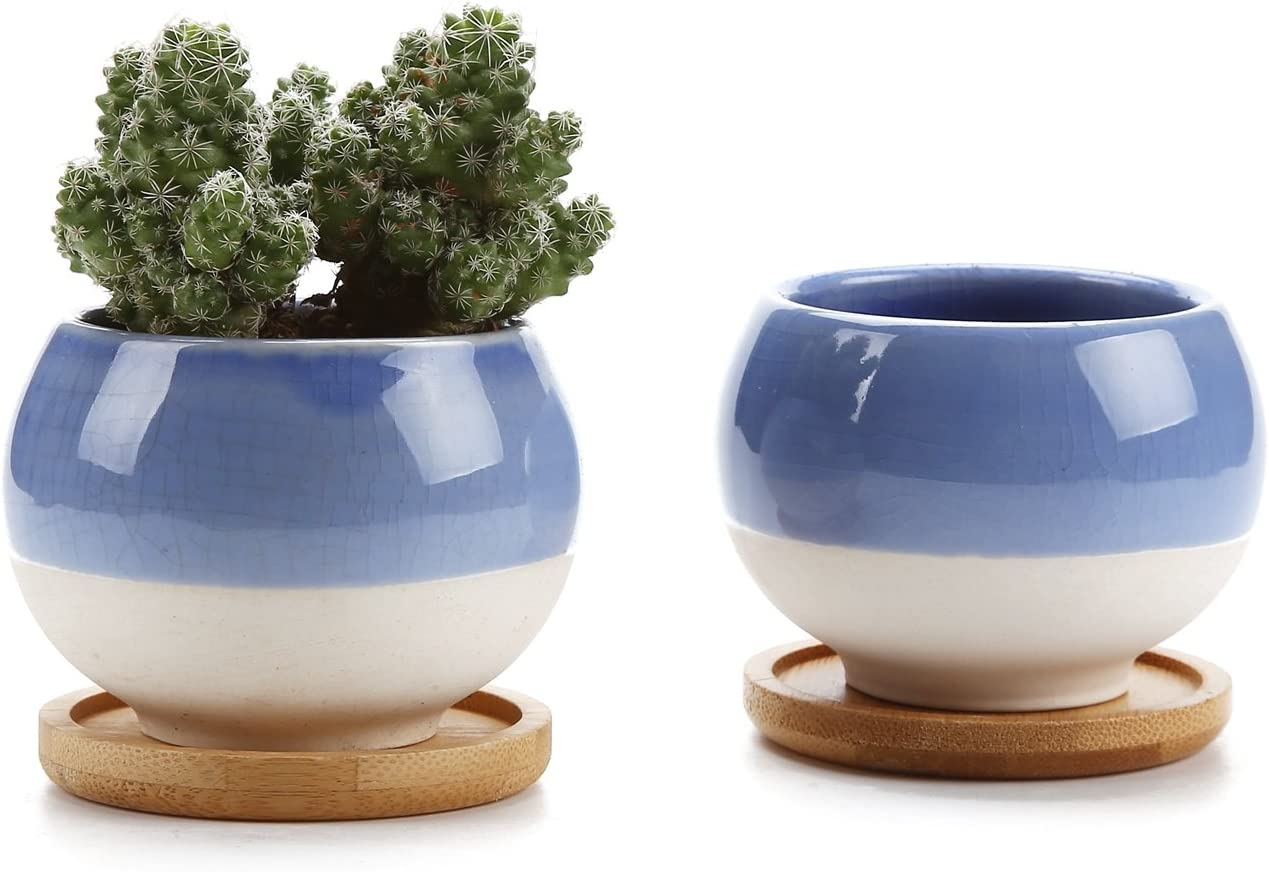 T4U Small Succulent Planters Pots, 3 Inch Ball Shape Clay Pots Cactus Container Window Boxes with Bamboo Tray, Blue Set of 2