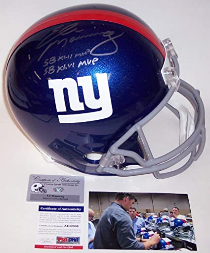 Image Unavailable. Image not available for. Color  Eli Manning Autographed  Hand Signed NY New York Giants Full Size Football Helmet - with Super 70eea7425