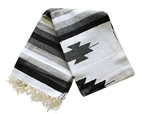 Del Mex Woven Mexican Southwest Large Center Diamond Blanket Yoga Serape (Black/Gray)