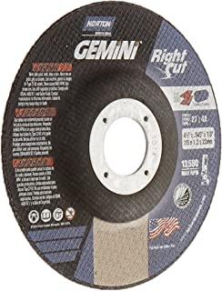Norton Gemini Right Cut Right Angle Grinder Reinforced Abrasive Flat Cut-off Wheel, Type