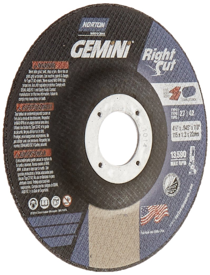 Norton Gemini Right Cut Right Angle Grinder Reinforced Abrasive Flat Cut-off Wheel, Type 27, Aluminum Oxide, 7/8'' Arbor, 4-1/2'' Diameter x 0.045'' Thickness  (Pack of 25)