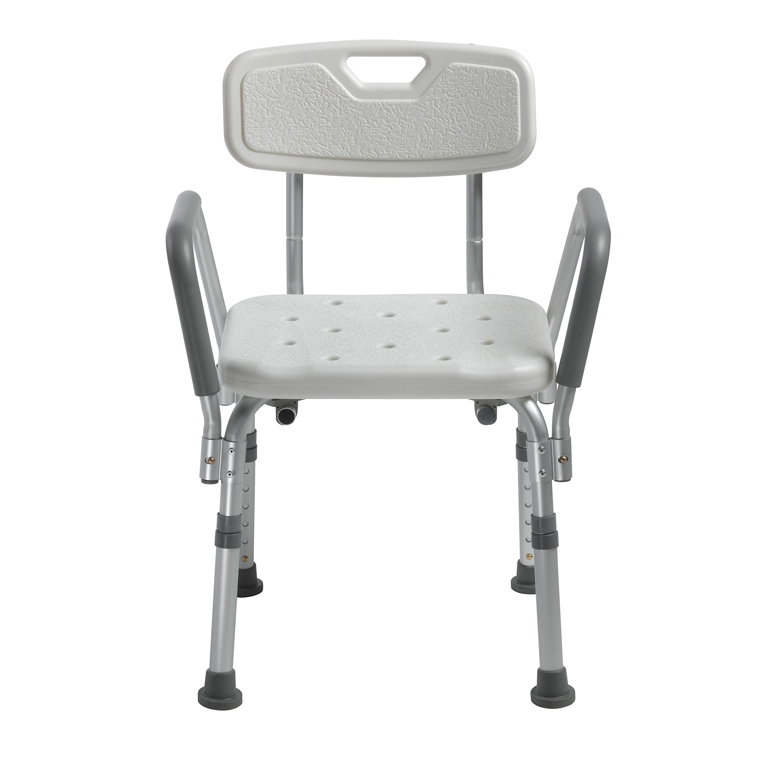 Drive Medical Knock Down Bath Bench with Back and Padded Arms, White