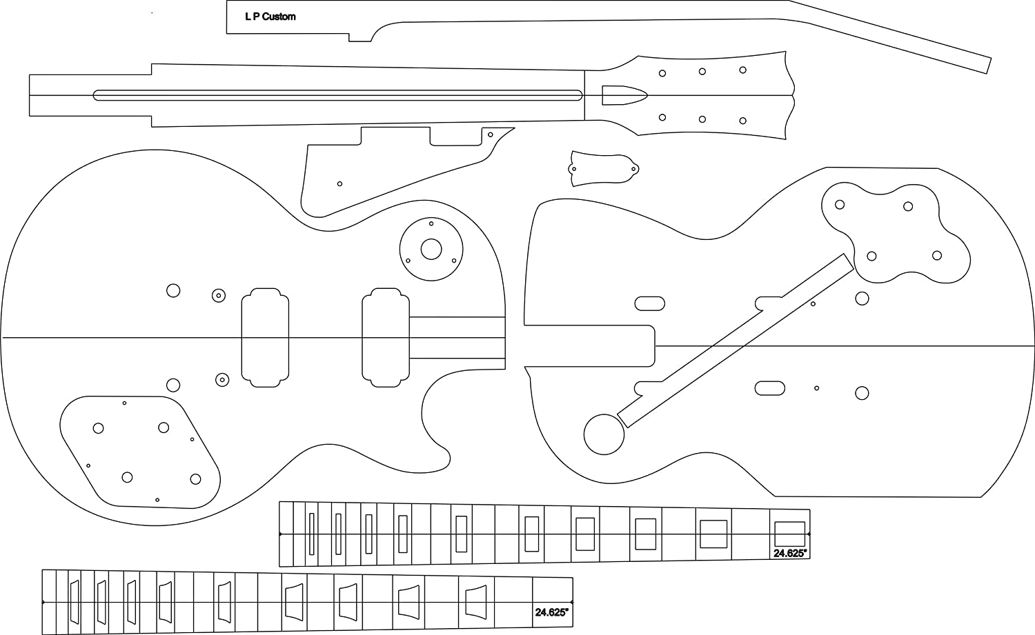 LP Electric Guitar Routing Template