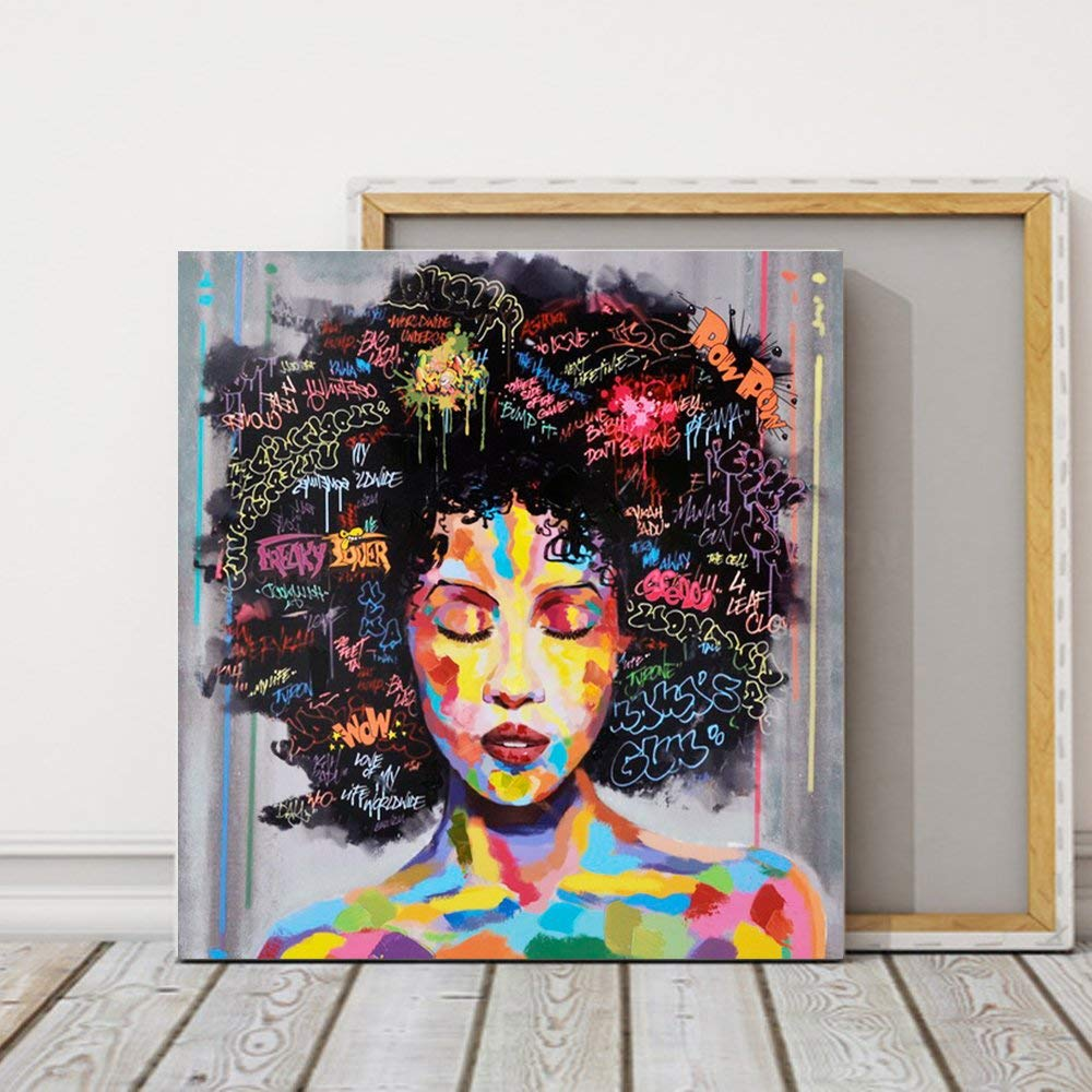 Pinetree art african american black art wall decor canvas wall art original designed pop graffiti style painting on canvas poster print without frame16 x