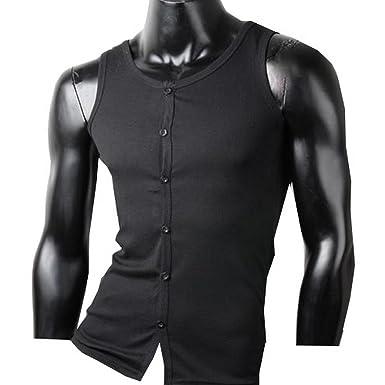 29000df5e232 Herren Tanktop Tank top Muskelshirt Fitness T shirt Achselshirt Body mit  Knöpfe (XL, Schwarz