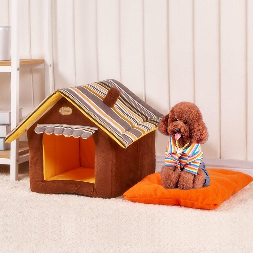 GBlife Portatíl Cojín Extraíble Suave Cama De Tiburón Casa para Mascotas y Sofá Multifunción Habitación de Perros Pequeños Camas Creativas (M, Café)