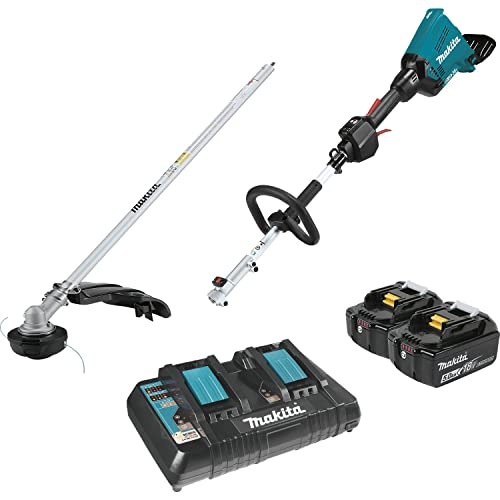 Makita XUX01M5PT 18V X2 36V LXT Lithium-Ion Brushless Cordless Couple Shaft Power Head Kit with String Trimmer Attachment 5.0Ah