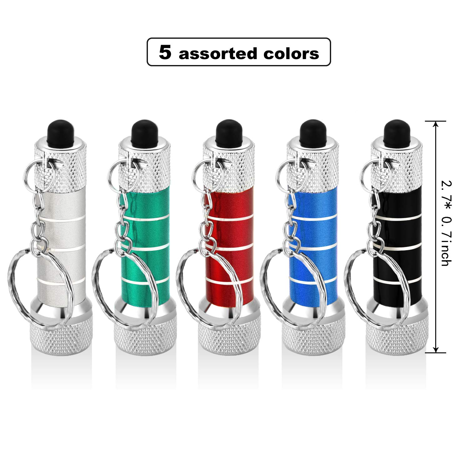 Style 3 20 Pieces Mini Flashlights Keychain 5 Bulbs LED Keychain for Camping Kids Party Favors