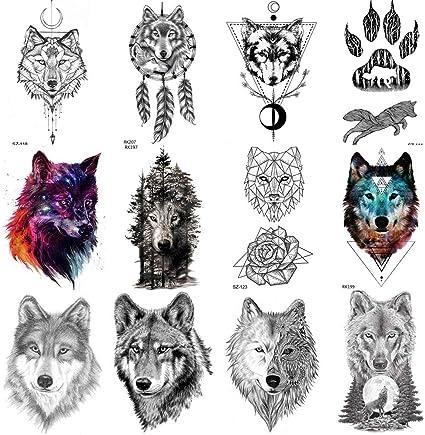 COKTAK 12 Hojas Bosque Lobo Realista Tatuajes Temporales Para ...
