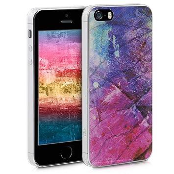 kwmobile Funda para Apple iPhone SE / 5 / 5S - Carcasa de [TPU] para móvil y diseño de Manchas de Colores en [Rosa Fucsia/Violeta/Azul]
