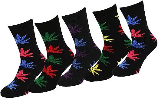 Men 5 Pairs Cannabis Ganja Marijuana Weed Leaf Cotton Rich