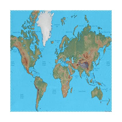 Amazon.com: LoveBea Placemats World Physical Map Square Placemats ...