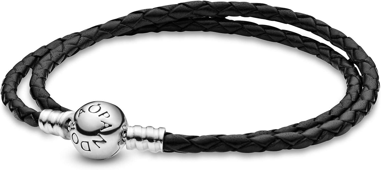 Pandora Moments 590745CBK-D2 - Pulsera de piel negra con doble envuelto en plata de ley