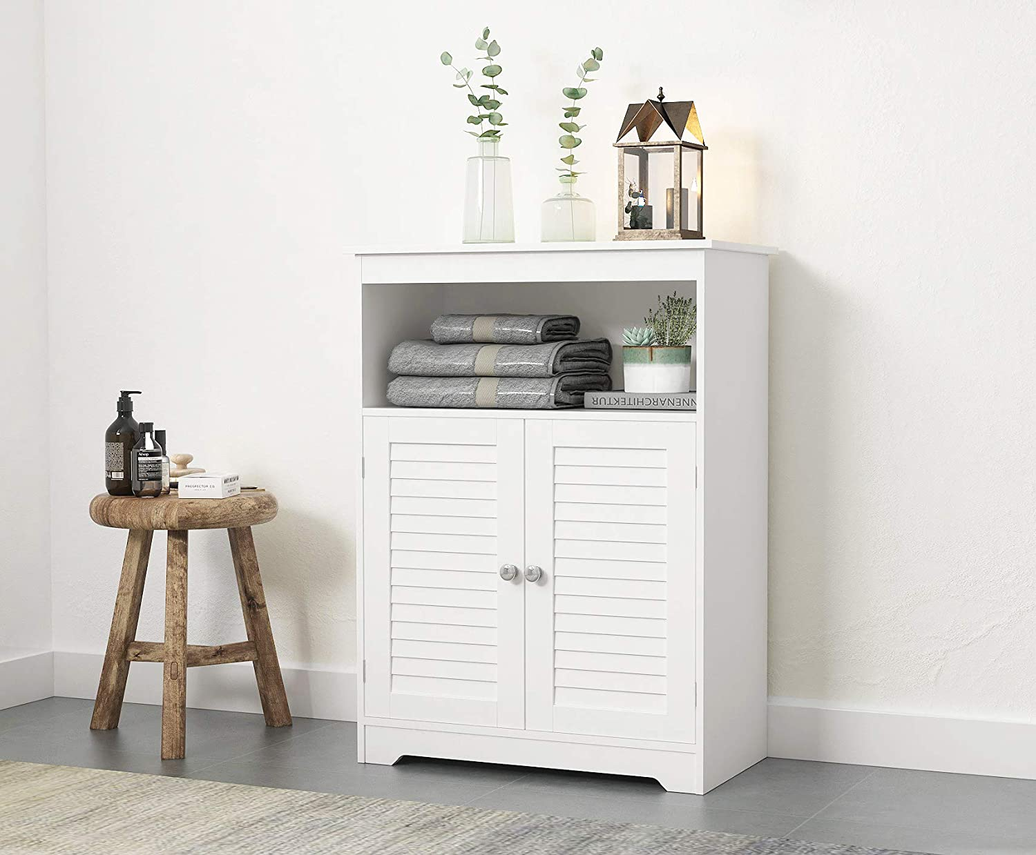 Amazon Com Spirich Bathroom Floor Cabinet With Double Louvered Doors And Adjustable Shelves Free Standing Bathroom Storage Cabinets White Kitchen Dining