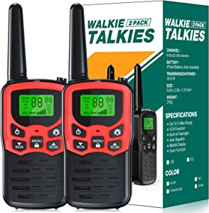 EKOOS Walkie Talkies Long Range for Kids and Adults Two-Way Radios Up to 5 Miles in Open Areas 22 Channels FRS/GMRS VOX Scan LCD Display with LED Flashlight, Gifts for Girls and Boys (2 Pack, Red)