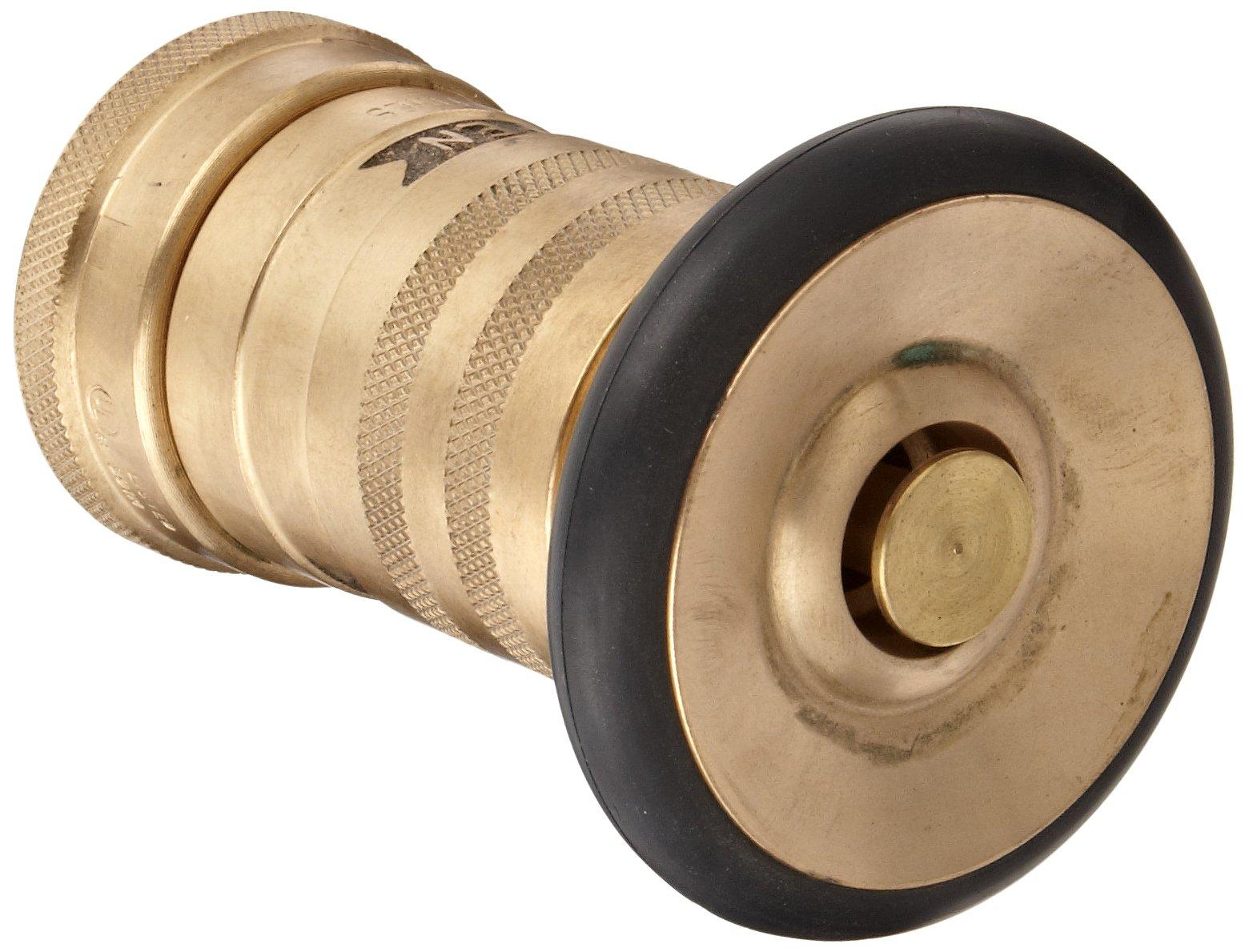 Moon 520-1011 Brass Fire Hose Nozzle, Heavy Duty Industrial Fog, 36 gpm, 1'' NPSH