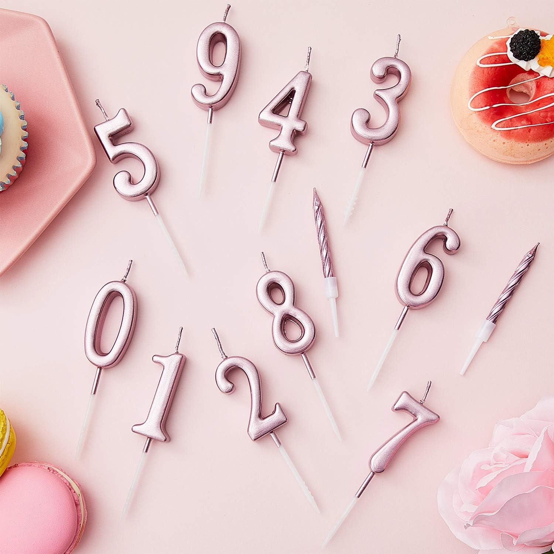Argento Totale 20 Pezzi BBTO 10 Pezzi Candele a Spirale con Portacandele per Torte di Compleanno
