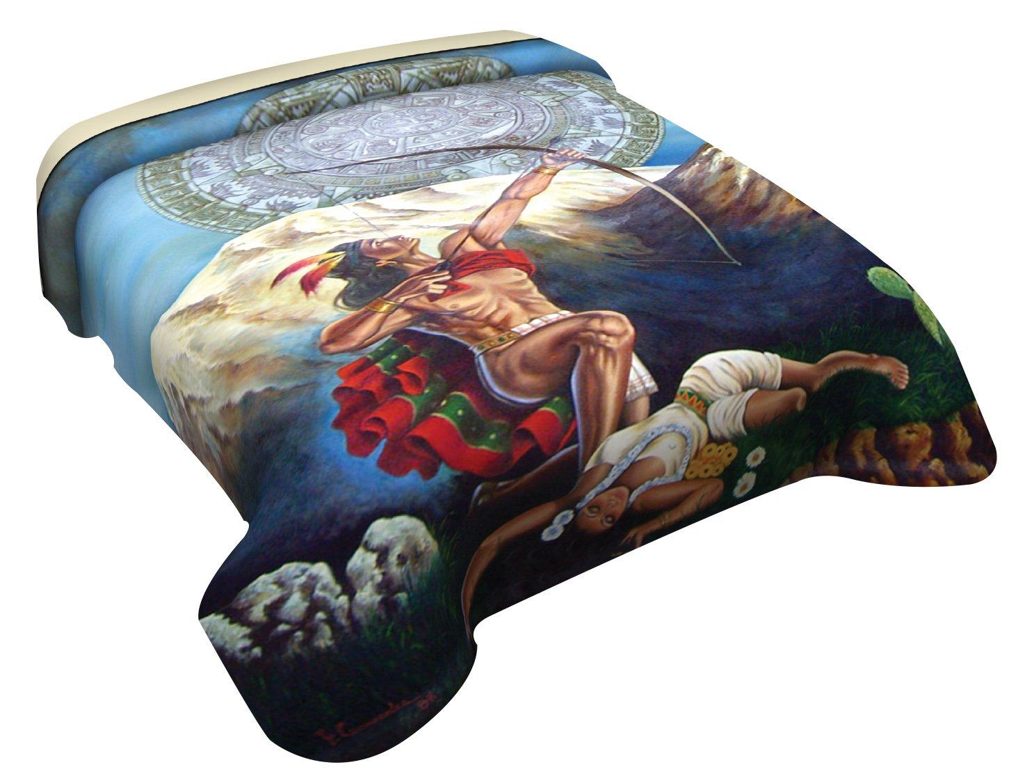 "Premium 100% Polyester Bed Blankets (Choose Size & Design) (71"" W x 87"" H Full Size, Aztec Calendar)"