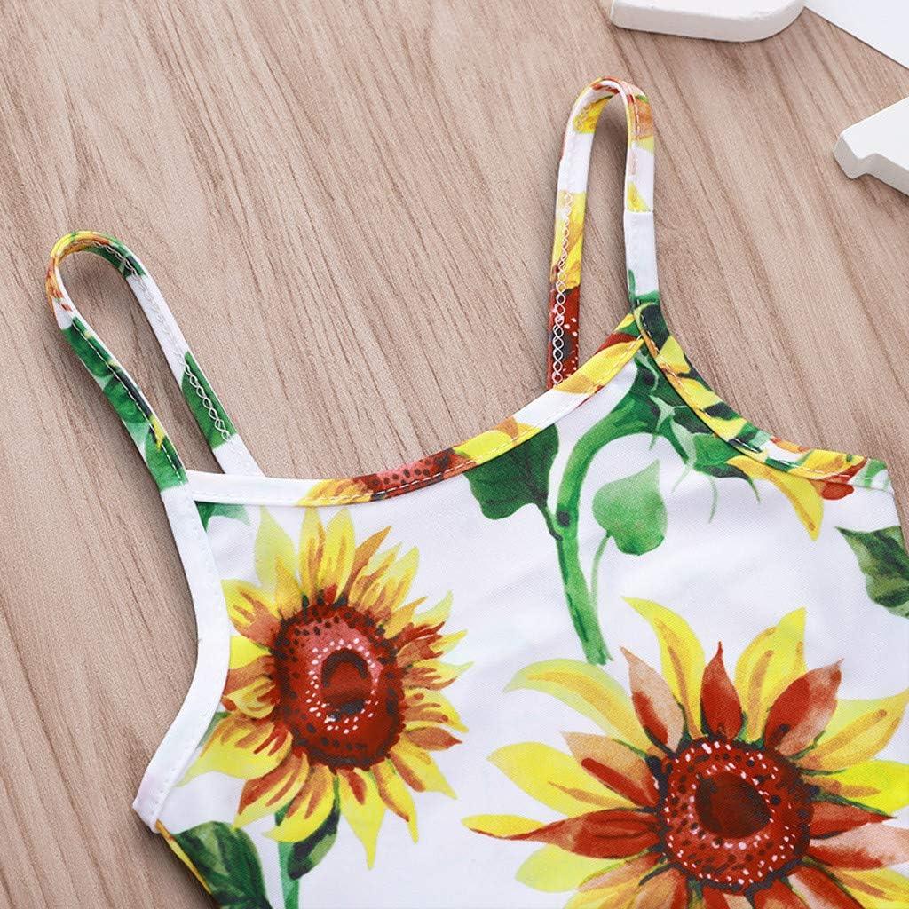 KONFA Baby Girls One Piece Swimsuit Beach Bathing Suit Toddler Newborn Swimwear Sunflowers Romper Rashguard Cover Up