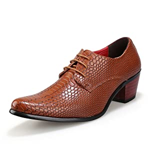 Men's Lace Up Oxfords Classic Modern Oxford Dress Shoes Fashion Leather Shoes Business Shoes (10, Brown)
