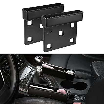 RIOROO 2PC Console Side PocketCar Seat Caddy Catcher Gap Filler And Organizer Fills