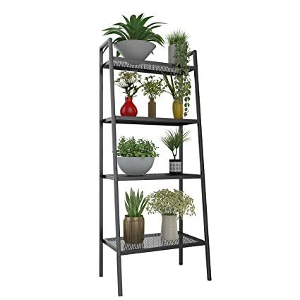 4 Tier Metal Ladder Display Shelf Plant Stand Organizer Rack Leaning Bookshelf Shelving Unit