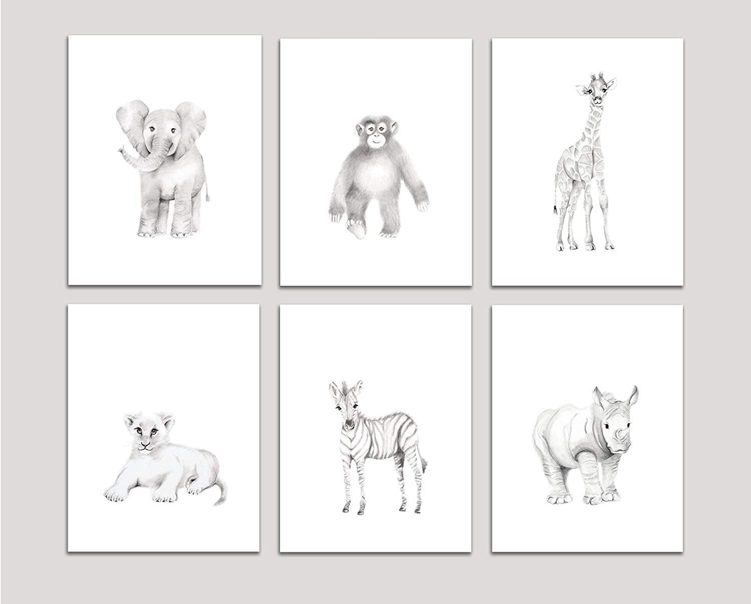 Amazon com safari nursery art set of 6 prints pencil drawing prints elephant giraffe monkey lion zebra rhino various sizes available