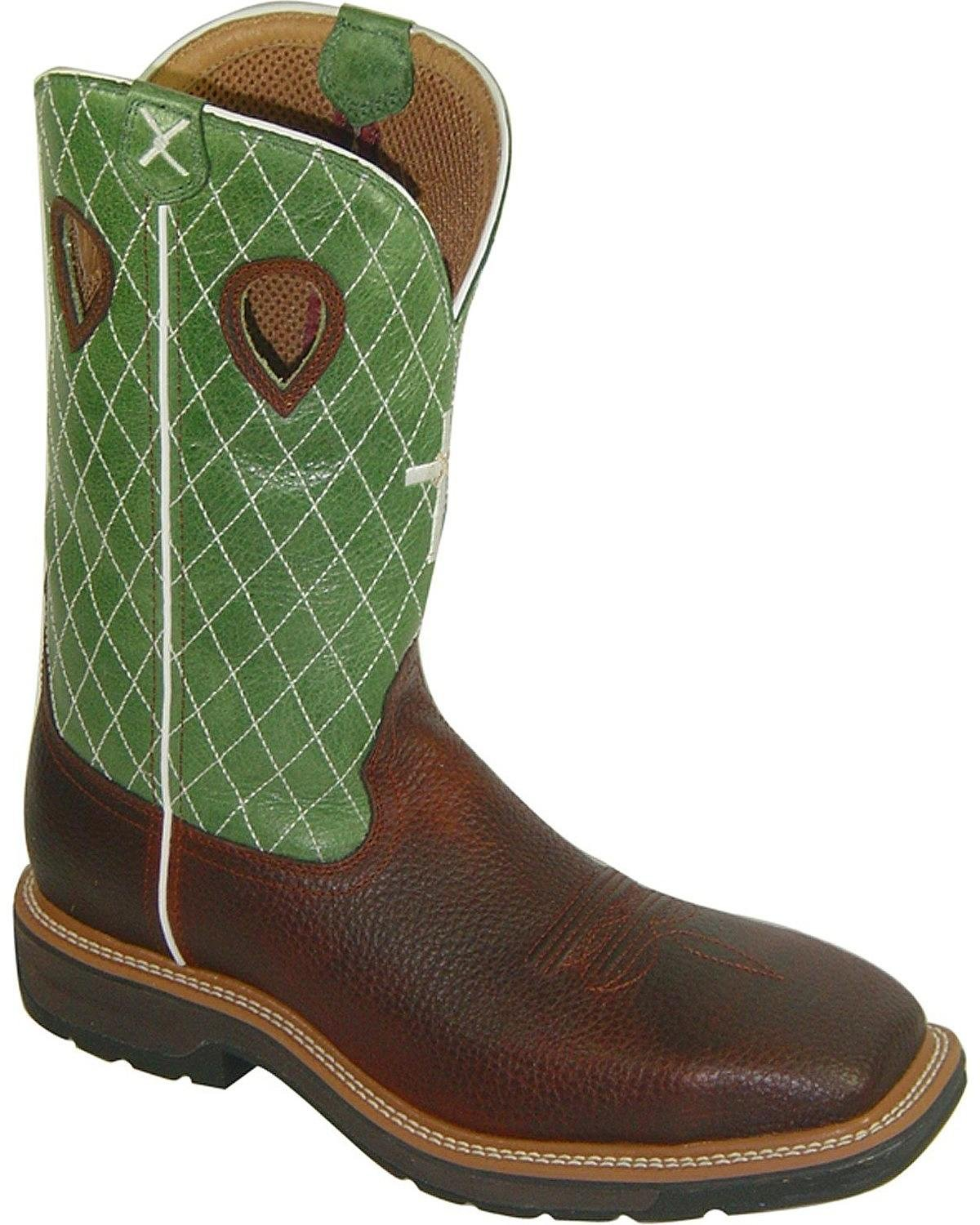 MLCS002 Twisted X Men's Lite Cowboy ST Safety Boots - Lime/Brown - 11.5 - EE