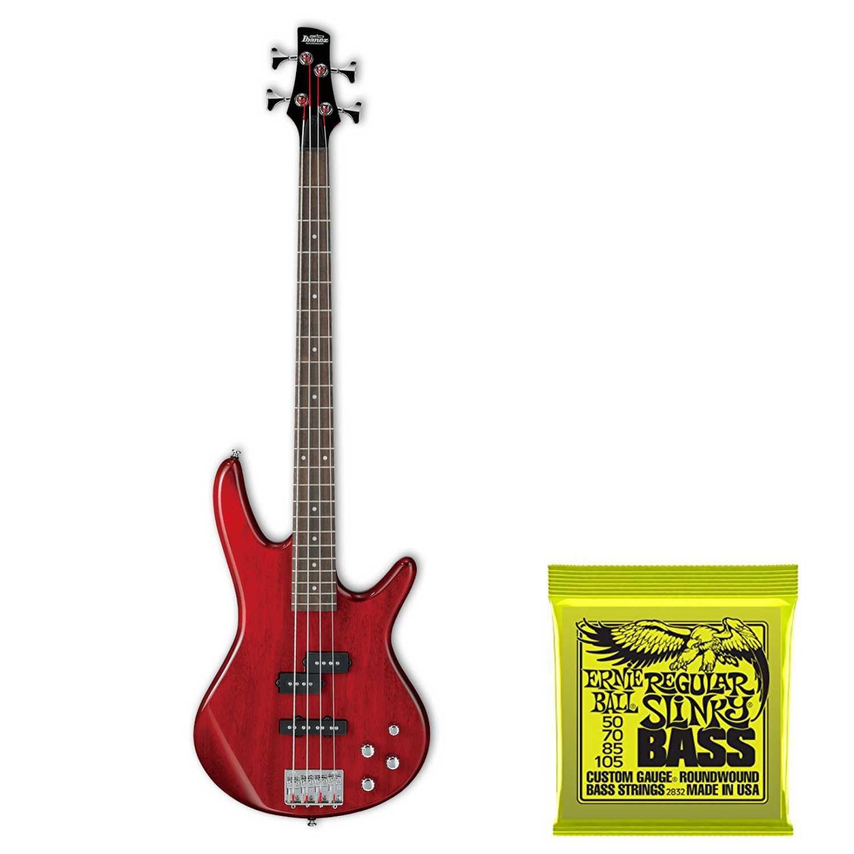 Ibanez GSR200 GIO Electric Bass Guitar (Black) Plus Ernie Ball Bass Strings