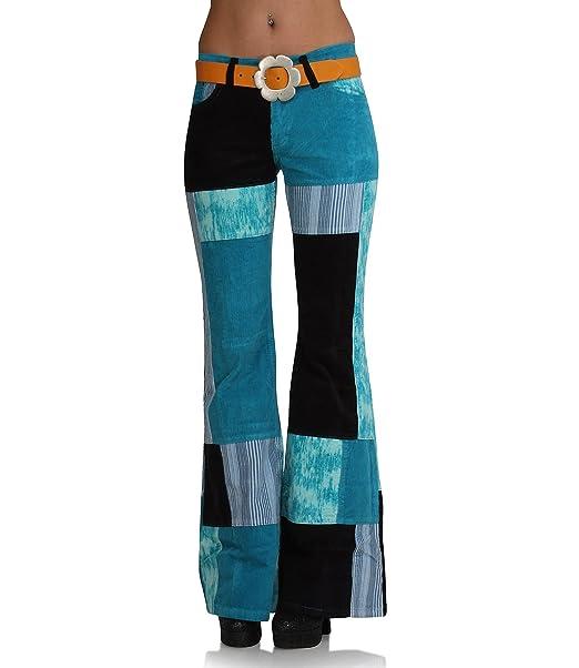 Hippie Goa Patchwork Mujer Cord Impacto Pantalones Turquesa ...