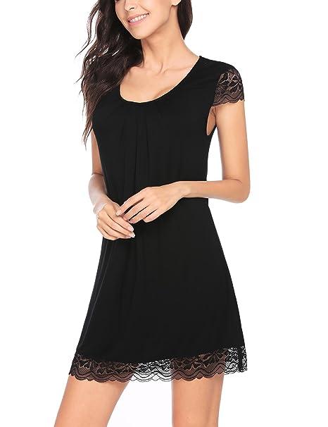 Langle Females Sleep Shirt Modal Sleepwear Pleated Nightgowns Nightie (Black 106a9ee3f