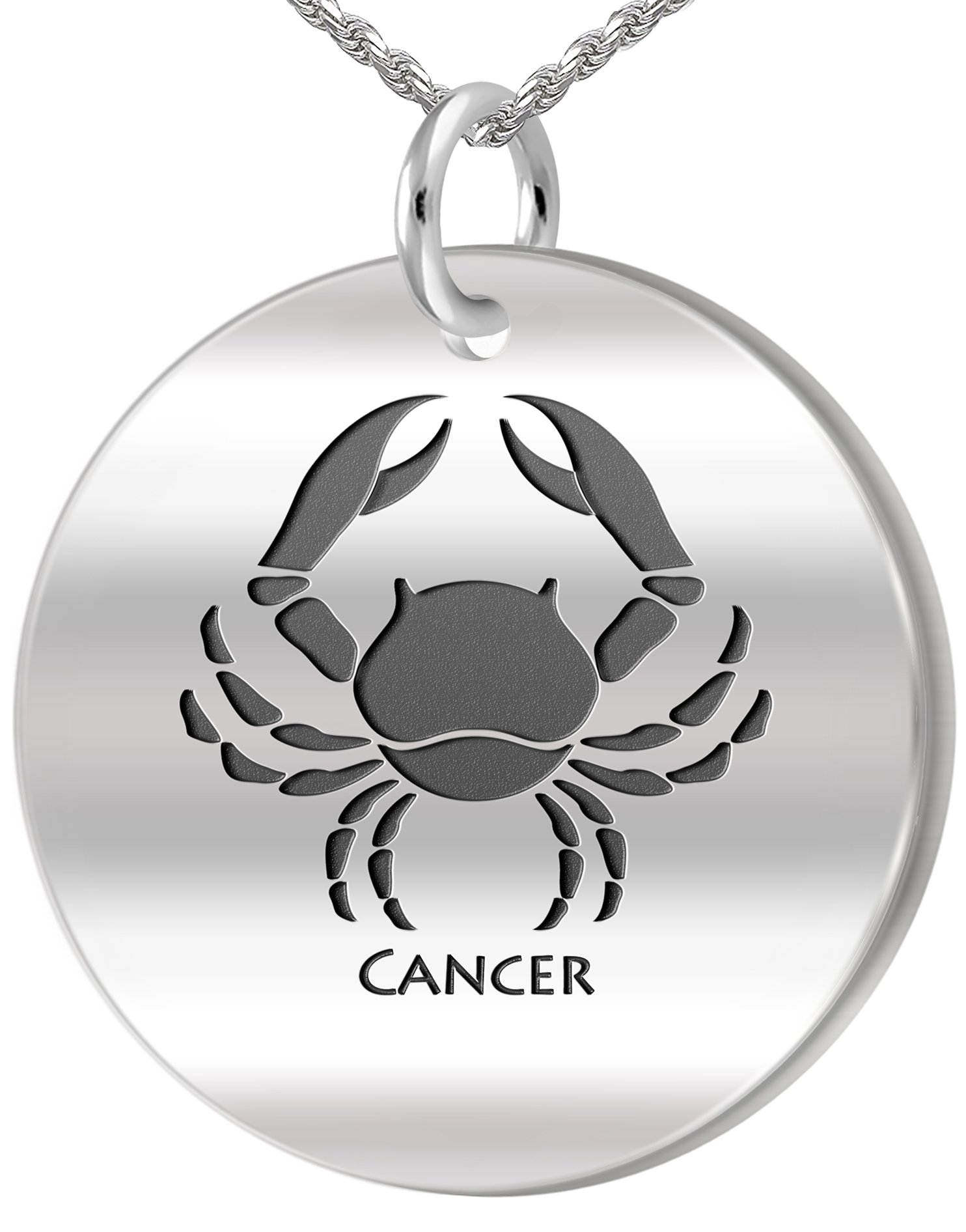 0.925 Sterling Silver 1in Cancer Crab June & July Zodiac Pendant 3.3mm Rope Necklace, 24in