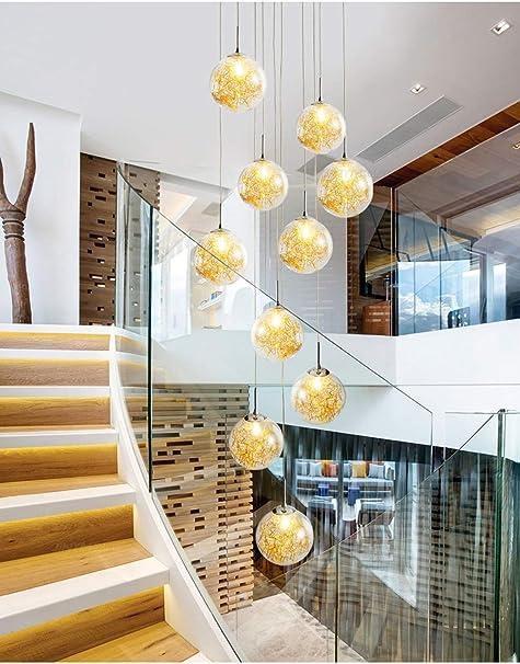 Ceiling lighting Lámpara Colgante Multi Luces Araña de Alambre de Oro con Forma de Bola de Cristal Loft Redondo esférico Creativo Línea Larga araña araña Larga para escaleras: Amazon.es: Hogar