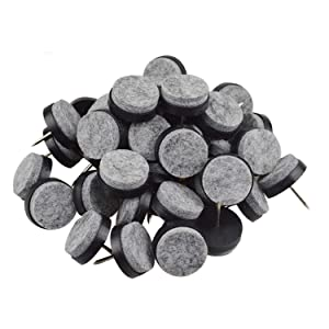 40pcs Round Heavy Duty Nail-on Anti-Sliding Felt Pad for Furniture Chair Table Leg Feet Floor Protectors (Black 20mm (40 pcs))