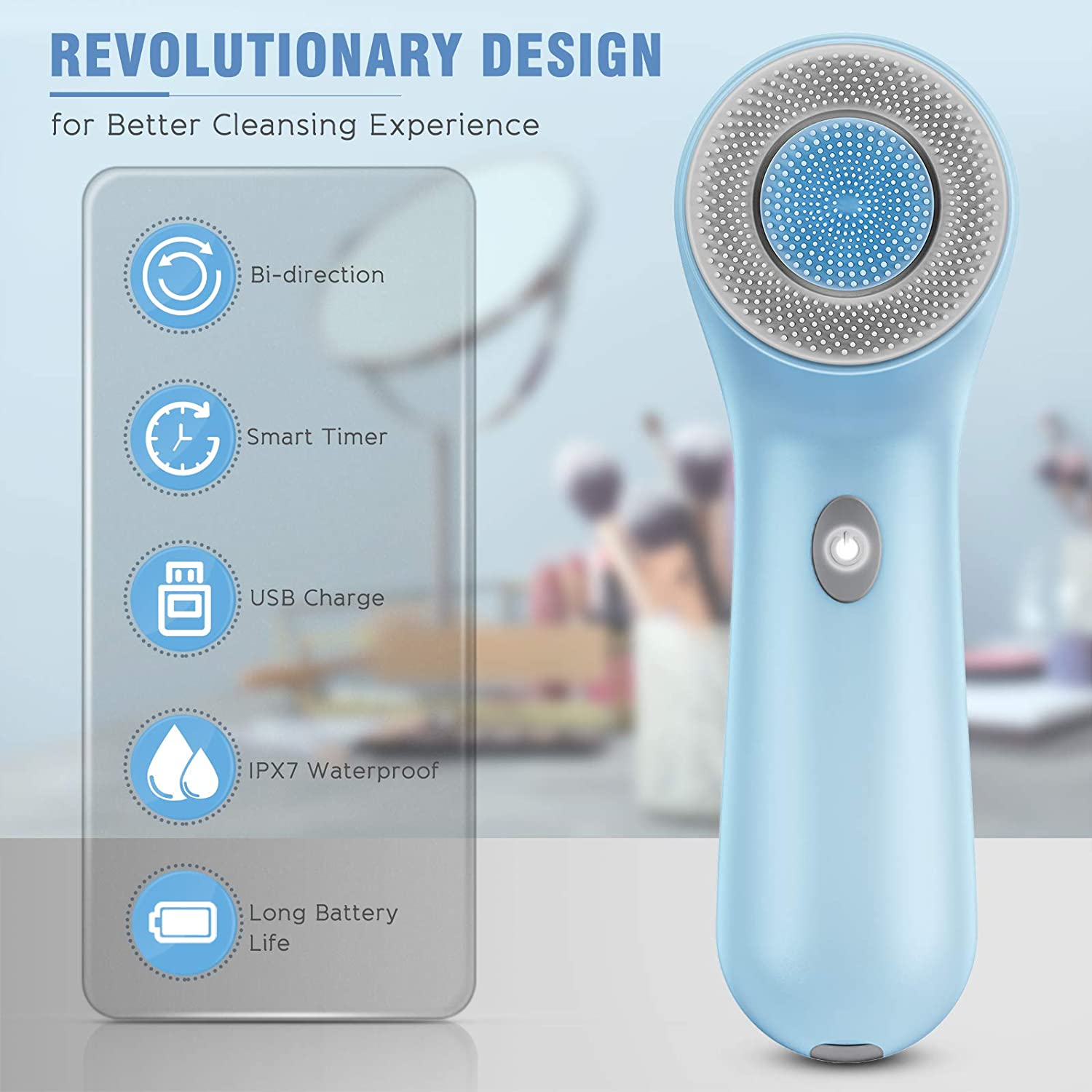 Facial Cleansing Brush, Rechargeable Face Brush Waterproof Electric Spin Face Scrub Brush with USB Charge (Blue)
