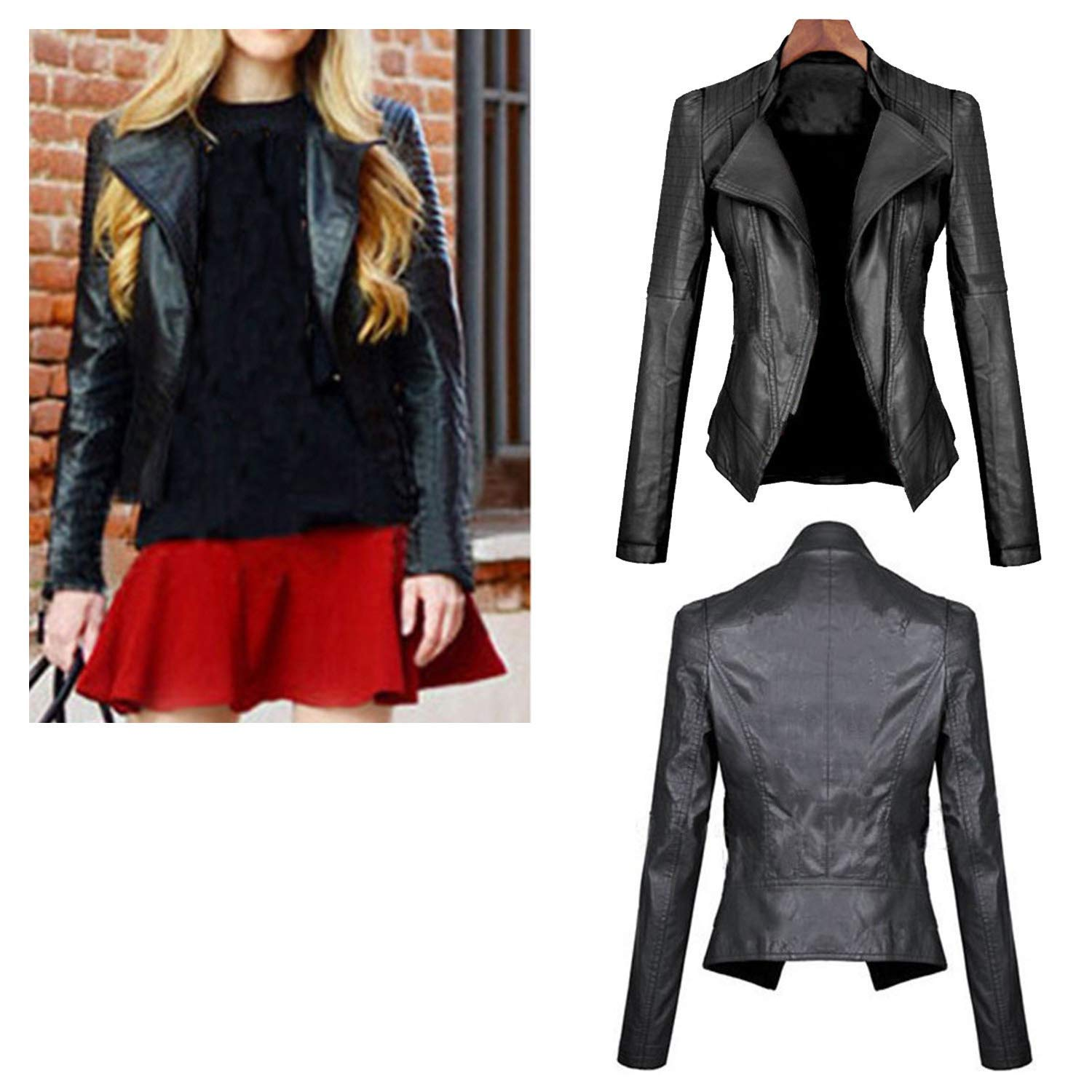 Women Black Biker Synthetic Jacket NMFashions Ladies Slim Biker MotorcycleSoft Synthetic Leather Jacket
