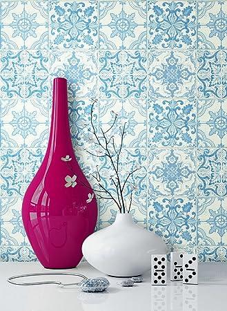 NEWROOM Tapete Blau Mauer Fliesen Modern Papiertapete Weiß Papier Moderne  Design Optik Tapete Küche Inkl.