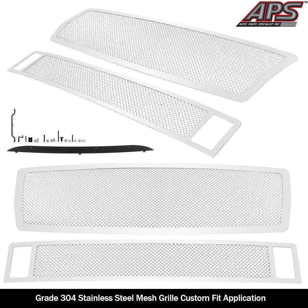APS Compatible with 04-10 Infiniti QX56 Stainless Steel Mesh Grille Combo N77903T