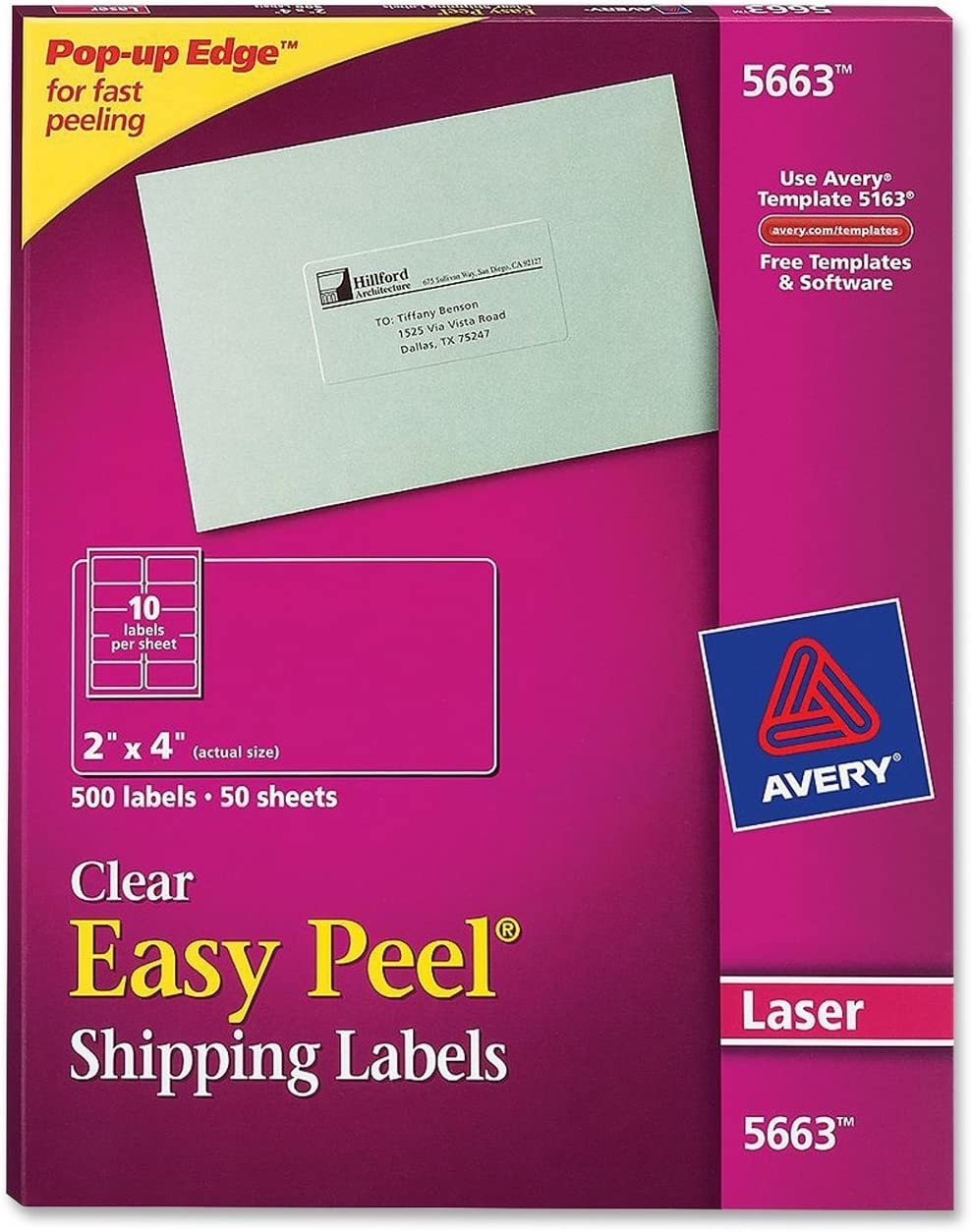 """Avery Matte Frosted Clear Address Labels for Laser Printers, 2"""" x 4"""", 500 Labels (5663)"""