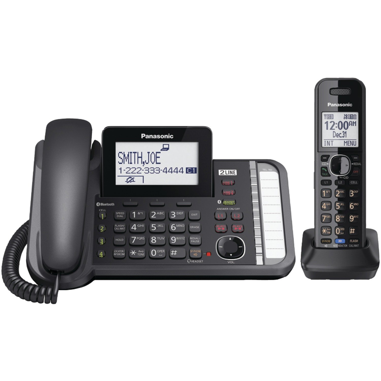 Panasonic KXTG9581B 2 -Line Corded/Cordless Expandable Link2Cell Telephone System with One Cordless Handset