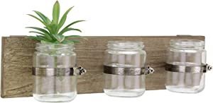 CKK Industrial LTD Stonebriar Rustic Natural Wood Hanging Wall Decor with 3 Glass Jar Containers, Unique Multifunctional Decoration for Living Room, Bedroom, Bathroom, Office, Kids Room, or Patio