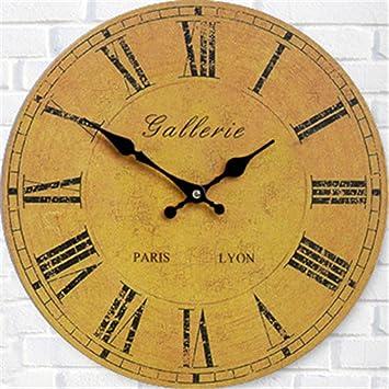 FUXINGXING Relojes antiguos americana moderna digital redondo reloj de pared, 16 pulg.: Amazon.es: Hogar