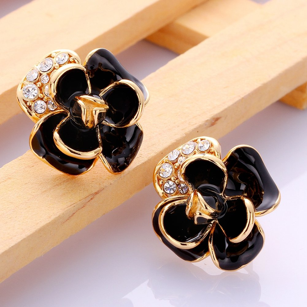 Fashion Colorful Crystal Rose Shape Gold Plated Stud Earrings Women-Alan M Arevalo