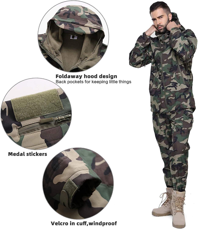 Wisdom Wolf Hommes Vestes Militaire Tactique Imperm/éables Softshell Toison Manteau dhiver Outdoor Hoodie