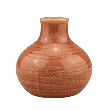 Amazon Stonebriar Decorative Burnt Orange Ceramic Vase For