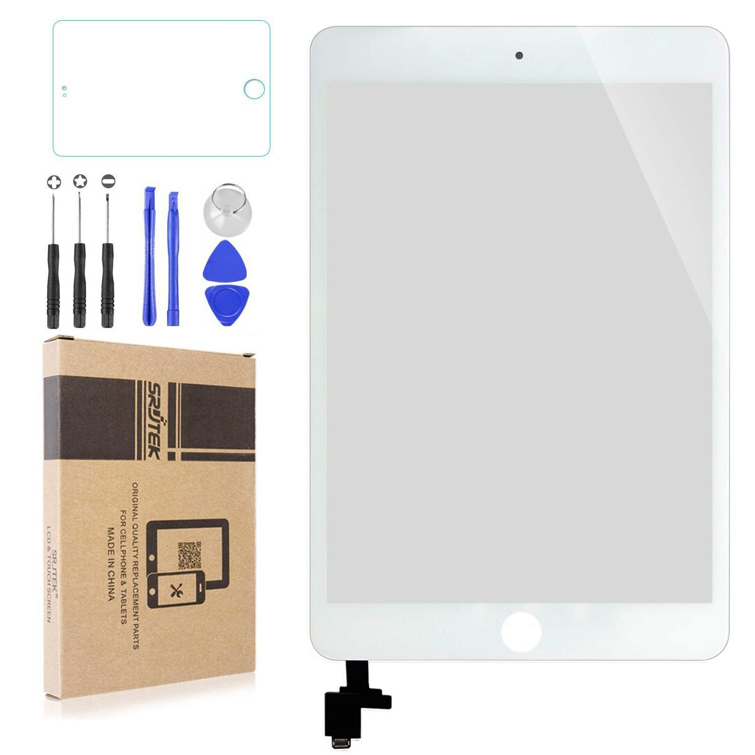 Srjtek Screen Replacement for IPad Mini 3 Touch Screen Digitizer A1599 A1600,Replacement Parts with IC Chip and Camera Holder(White)